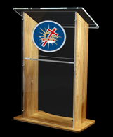 A solid oak and acrylic lectern that shouts quality