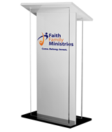 Contemporary design and heavyweight construction lectern